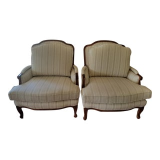 Striped Bergere Chairs - A Pair