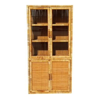 Vintage Tropical Bielecky Brothers Woven Rattan Vitrine For Sale