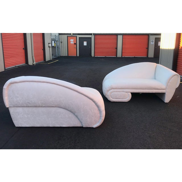 """Amazing pair of circa 1990s sculptural """"cloud"""" chaise lounge sofas. Manufactured by Carson furniture. Beautiful lines from..."""