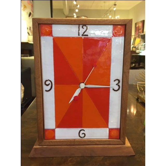 Vintage Modern Enamel on Copper Clock - Image 2 of 8