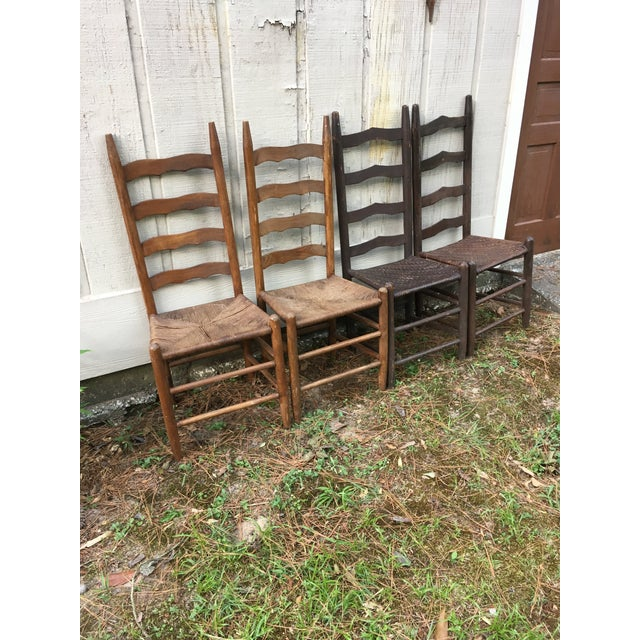 Mismatched Ladder Back Country Chairs - Set of 4 For Sale - Image 10 of 12