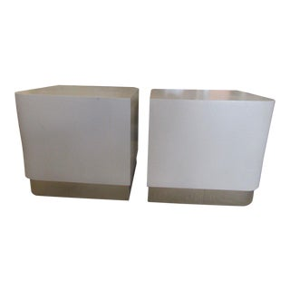 Karl Springer Linen Wrapped Side Tables - A Pair