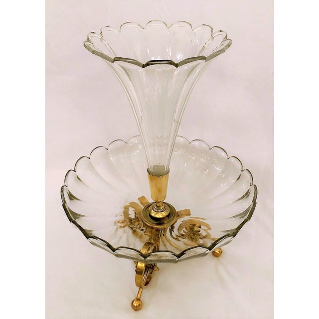 Traditional Antique French Baccarat Crystal Centerpiece Epergne, Circa 1880. For Sale - Image 3 of 4