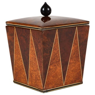 Mulberry and Walnut Tobacco Art Deco Jar From England Circa 1940 For Sale