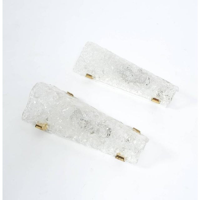 Hillebrand Set of 3 Hillebrand Ice Glass and Brass Sconces, circa 1970 For Sale - Image 4 of 7