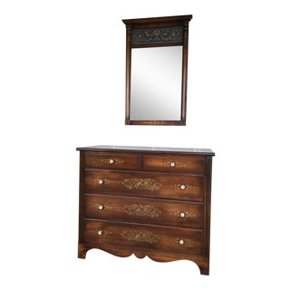 L. Hitchcock Paint Decorated 5 Drawer Dresser and Mirror For Sale