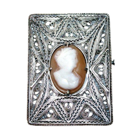 Antique Italian Silver Cameo Brooch - Vintage Cameo Brooch - Italian Jewelry - 1900s Jewelry - Silver Filigree - Wedding Jewelry For Sale