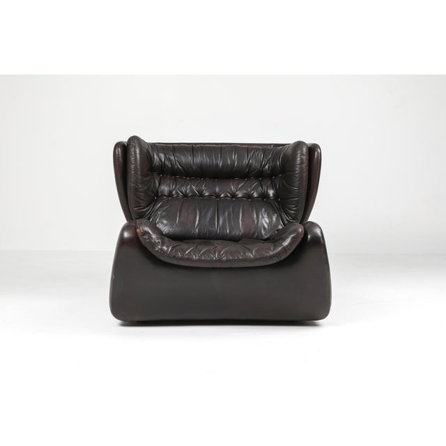 Dark Brown 'Pasha' Lounge Chairs by Durlet - 1970's For Sale - Image 9 of 13