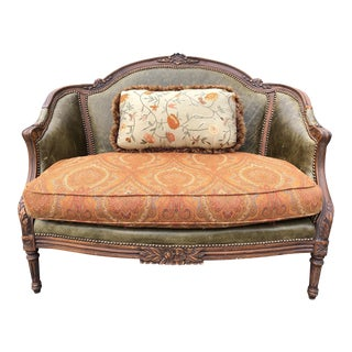 Vintage Traditional Moss Leather/Tapestry Settee