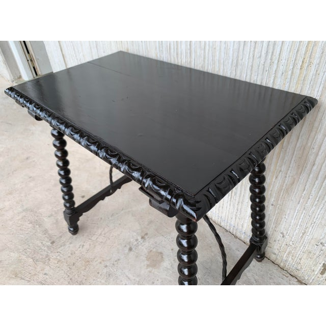 Black 19th Spanish Baroque Side Table With Iron Stretcher and Carved Top in Walnut For Sale - Image 8 of 12