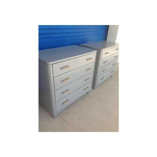 Gray Mid-Century Bachelor Chests - A Pair - Image 6 of 7