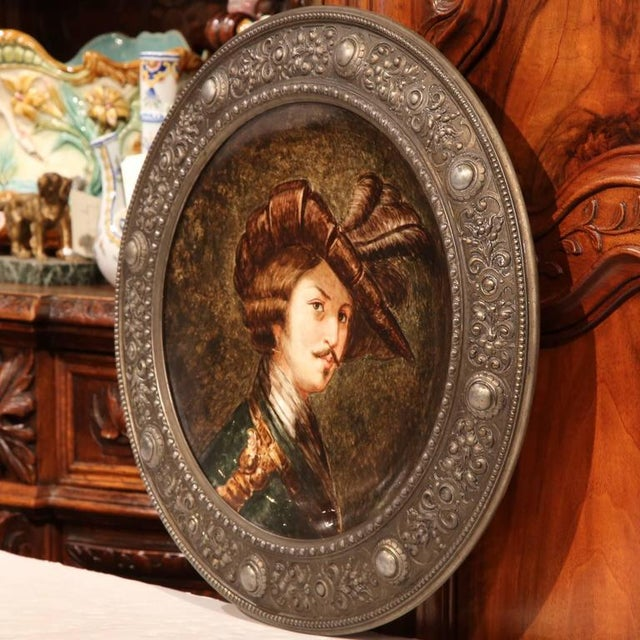 Large antique framed porcelain hand-painted plate from Germany, circa 1880. The painted platter depicts the portrait of a...