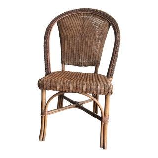 1990s Vintage Palecek Rattan Side Chair For Sale