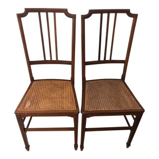 Early 20th Century Antique Caned Chairs- A Pair For Sale