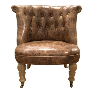Small Brown Leather Script Child's Chair For Sale