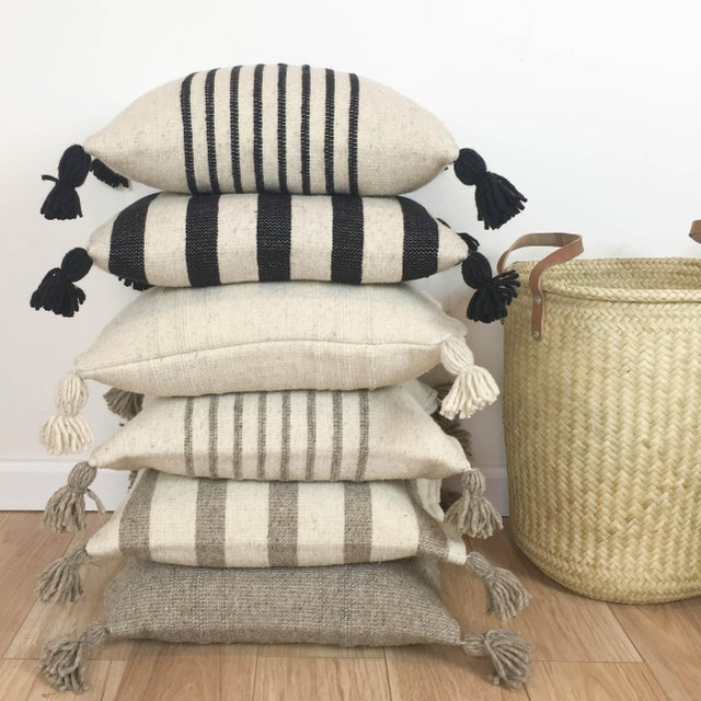 Mexican Black & White Stripe Wool Throw Pillow For Sale - Image 4 of 4