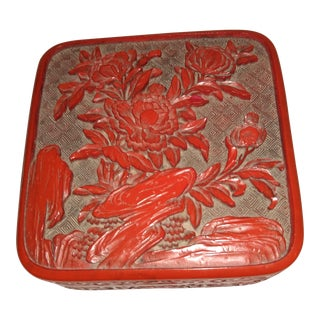 Vintage Chinese Cinnabar Lacquer Box For Sale