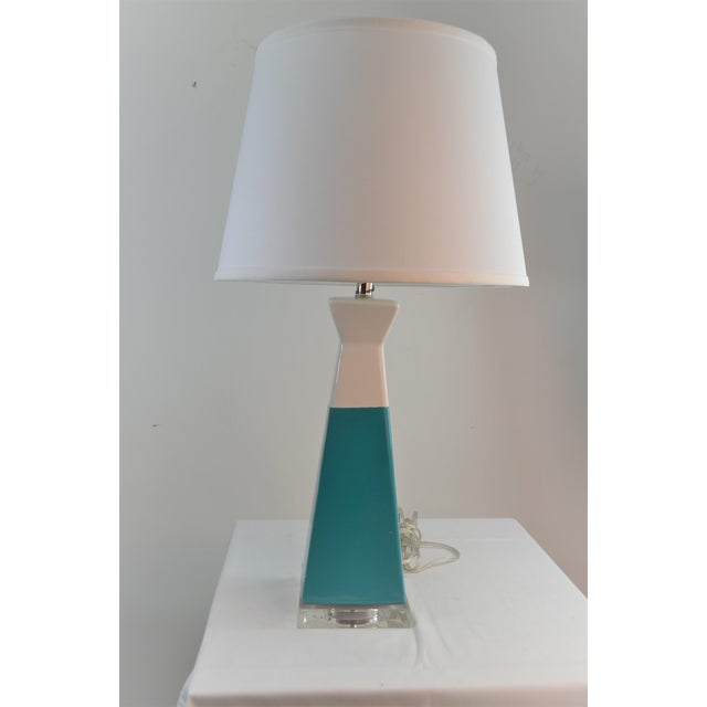 Ceramic Bungalow 5 Gia Lamp Turquiose With Shade For Sale - Image 7 of 7