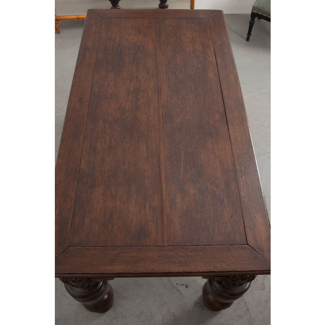 French 18th Century Elizabethan-Style Hand-Carved Oak Center Table For Sale - Image 11 of 13