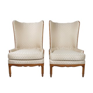 1950s Silk Upholstered Wingback Club Chairs - a Pair For Sale