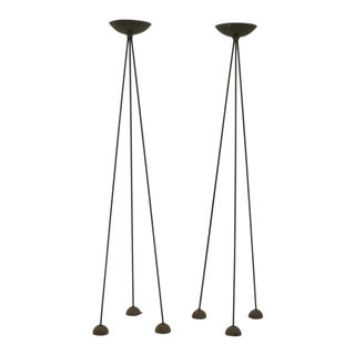 Pair of Floor Lamps by Koch and Lowy, Black Tripod Stands With Halogen Fixtures For Sale