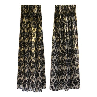 Gold & Black Damask Drapes - A Pair For Sale
