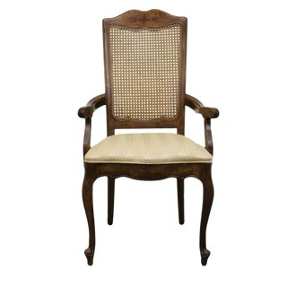 Late 20th Century Vintage Stanley Furniture Fleur De Bois Country French Fruitwood Cane-Back Arm Chair For Sale