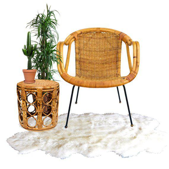 Mid Century Rattan & Sculpted Bamboo Hoop Chair Cast Iron Legs For Sale - Image 4 of 11