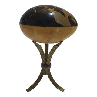 Art Deco 1920s Specimen Marble Egg on Corded Metal Stand For Sale