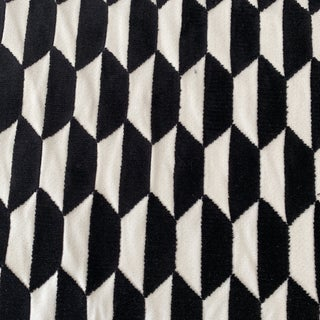 """Jim Thompson Designer Luxe Black and Ivory """"Marquise"""" Geometric Velvet Fabric Remnant For Sale"""