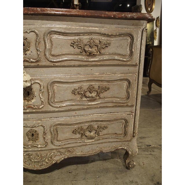 Antique Louis XV Style Painted French Chest of Drawers with Marble Top For Sale - Image 10 of 10