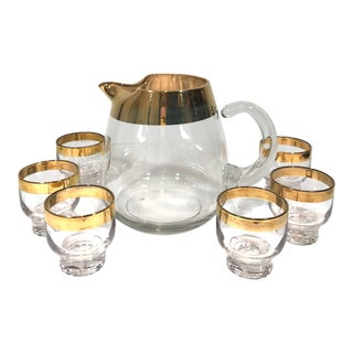 Vintage Mid-Century Gold Pitcher Set of 7 For Sale