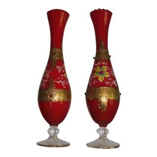 Antique Russian Art Glass Vase- a Pair