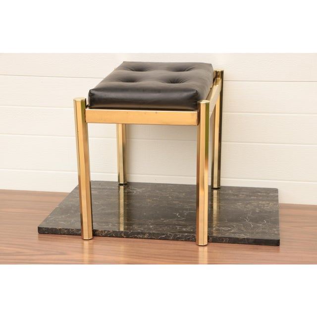 Milo Baughman Koch Originals Vanity Stool in Gold and Black For Sale - Image 4 of 8