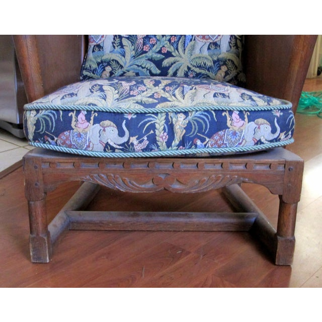 Asian Antique Ornate Carved Wooden Wingback Chair W/ Monkey & Elephant Upholstered Cushions For Sale - Image 3 of 11