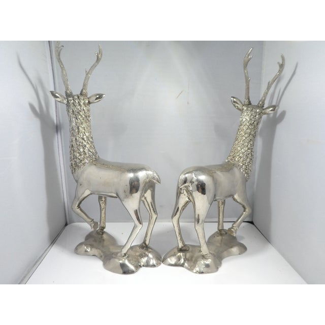 Miniature Silvered Brass Deer Figurines - a Pair For Sale - Image 4 of 12