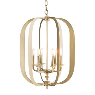 Transitional Currey & Co. Satin Brass Pendant For Sale