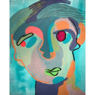 "Contemporary Abstract Portrait Painting ""Let's Chat, No. 3"" For Sale"