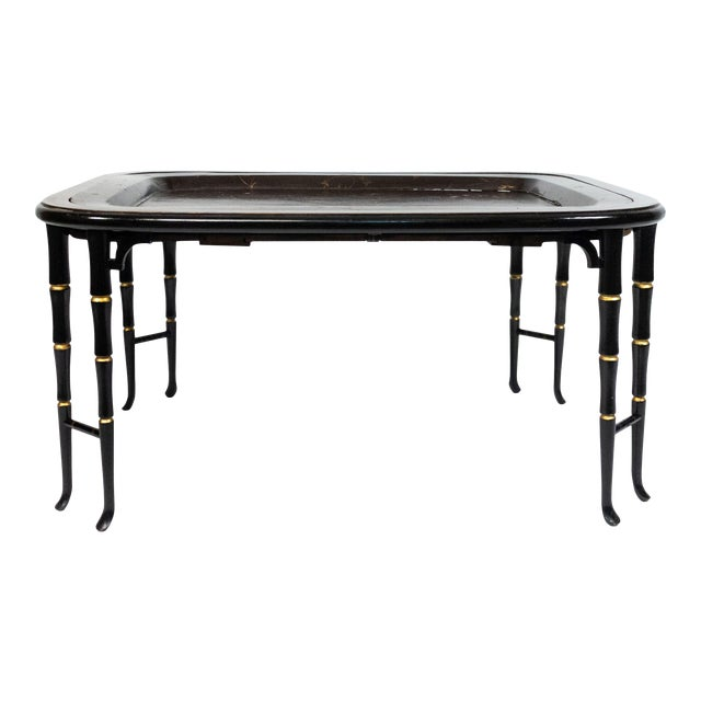 English Regency Brown Lacquered Coffee Table For Sale