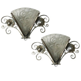 French Art Deco Wall Sconces by Degue - a Pair For Sale
