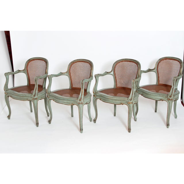 Set of 4 Italian Caned Polychrome Fauteuils - Image 4 of 11