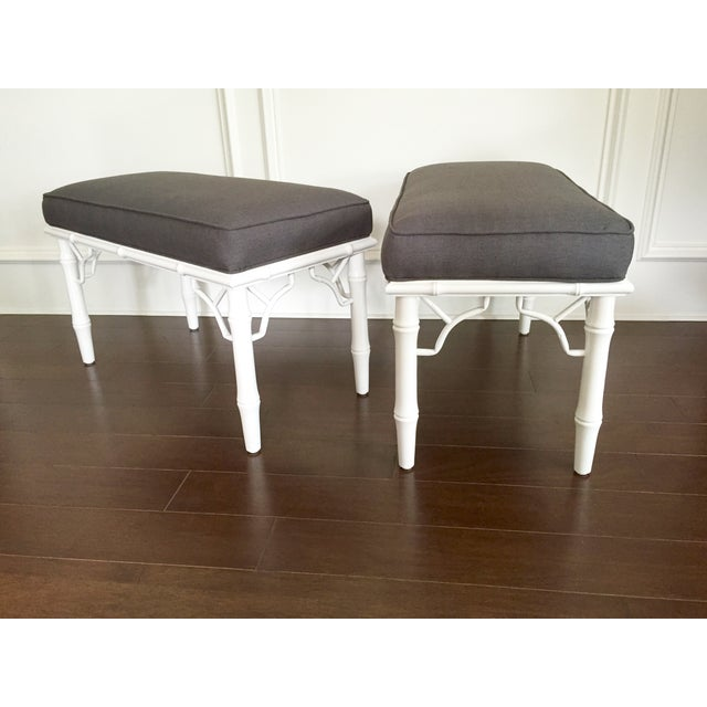 Vintage Faux Bamboo Upholstered Bench - Image 8 of 9
