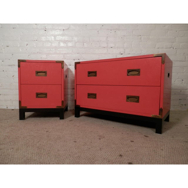 Red Campaign Style Chests For Sale - Image 8 of 8