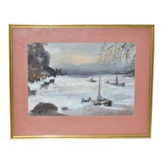 """Vintage """"Stormy Seas"""" Watercolor c.1930s"""