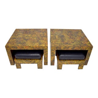 Pair of Phyllis Morris Oil Drop Finish End Tables With Nesting Ottomans For Sale