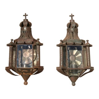 Mexican Patinated Single Candle Sconces With Crosses - a Pair For Sale