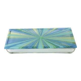 William Higgins Artisan Blue & Green Glass Box For Sale