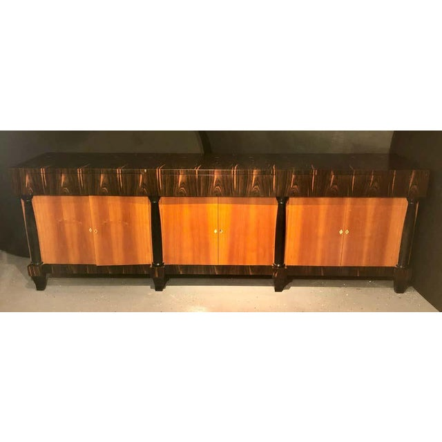 Palatial Six Door Macassar Sideboard Cabinet Ebonized Column and Feet Support For Sale - Image 9 of 13