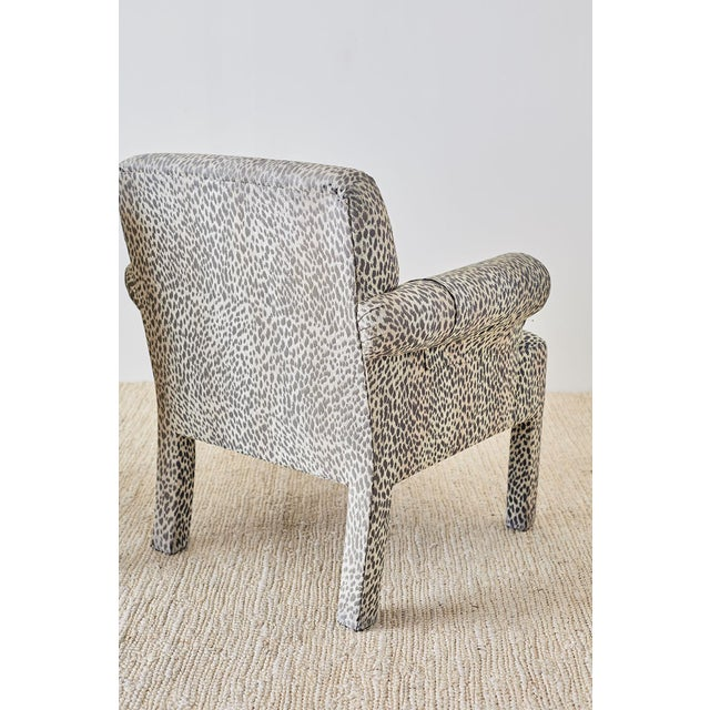 Set of Four Cheetah Leopard Upholstered Club Chairs For Sale - Image 9 of 13