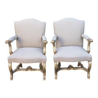 Pair of Thomas Morgan Italian Giltwood Bergere Chairs For Sale